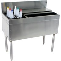 "Glastender CBA-36L Cocktail Unit Combo Ice Bin 36"" with Left Bottle Well"