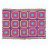 Vintage Inspired Old Fashioned Patchwork Graphic Throw Blanket