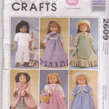 "Turn of the Century doll clothes pattern for Gotz/American Girl/18"" doll party dress, hooded coat, underwear McCall's 2609 CUT and COMPLETE"