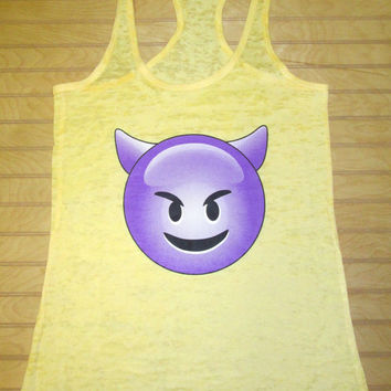 Burnout Racerback Tank Top Emoji Sneaky Devil