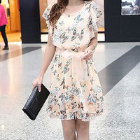 Pink Printed Ruffled Sleeve Dress
