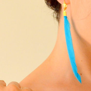 BLUE FEATHER EARRINGS, feather earrings, blue feather, plume earrings, birds feather earrings, quill earrings, Nomad Tribal Earrings