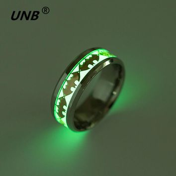 Retro Luminous Ring Stainless Steel Batman Men's Rings Wedding Jewelry for Women Metal Material