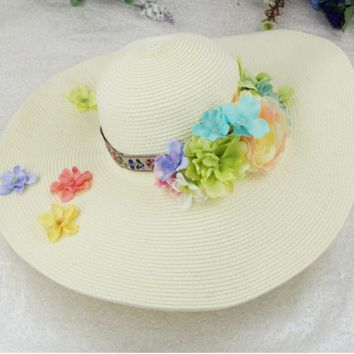 2017 new travel vacation DIY handmade flowers big hat straw hat Beach Hat Beach Hat