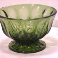 Green, Glass, Anchor Hocking, Fairfield, Compote, Candy, Dish, Decor, Fluted, Scalloped, Bowl, Mid Century, Bathroom, Trinket, Retro, Gift