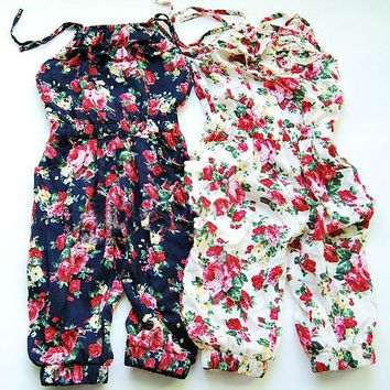Flower Kids Baby Girls Dress Summer Cotton Pastoral Style Jumpsuit Pants 2-8Y = 1930526404