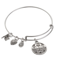 Alex and Ani style swan pendant charm bracelet,a perfect gift !