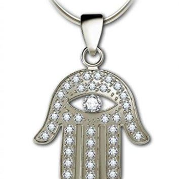 SHIP BY USPS: 925 Sterling Silver Hamsa Necklace Evil Eye Pendant with Pave Set Cubic Zirconia Gemstones, 18""