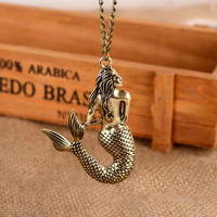 Mermaid Chain Bar Necklace Beads and Long Strip Pendant Necklaces Jewelry NDR001