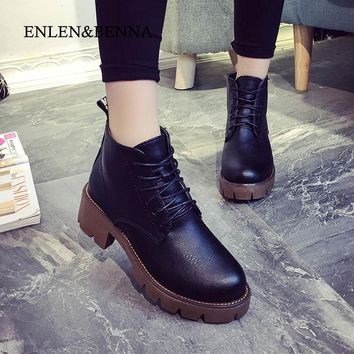 ENLEN&BENNA winter women boots fashion velvet platform thick heel ankle boots shoes women vintage motorcycle lacing high heels