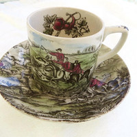 Johnson Bros Cup and Saucer, Tally Ho, Equestrian Demitasse Cup, Hunt Scene,  Transferware Teacup