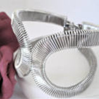 Silver Tone Cuff, Retro Clamper Bracelet, Silver Wire Hinged Bangle