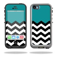 Mightyskins Protective Vinyl Skin Decal Cover for LifeProof iPhone 5C Case fre Case wrap sticker skins Teal Chevron