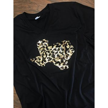 State Shirt with Leopard Print Mermaid Sequins