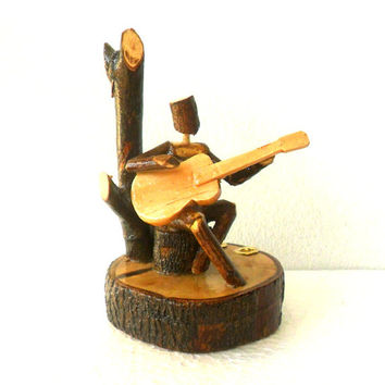 Natural Wood Carving Sculpture Guitar Player Handmade Reclaimed Wood Rustic Wood Handmade Driftwood Eco-friendly Pencil Pen Holder Art Gift