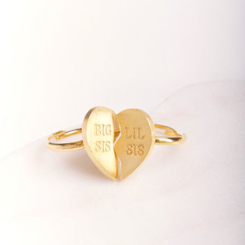 Big Sis Lil Sis Ring Set ~ Gold Plated