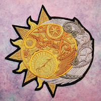 Celestial Sun Crescent Moon Iron On Embroidery Patch MTCoffinz - Choose Size