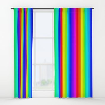 Rainbow Line #society6 Window Curtains by Azima