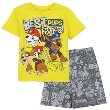 Paw Patrol Toddler Boys 2-Piece French Terry Short Set. 2T, 3T, 4T