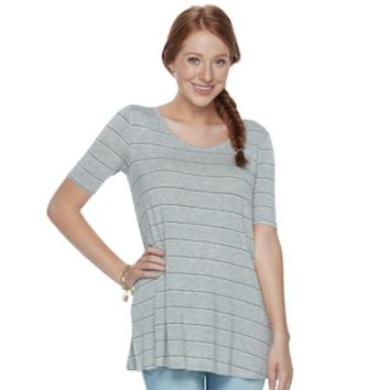 Juniors' SO® Solid Elbow Sleeve Tunic | null