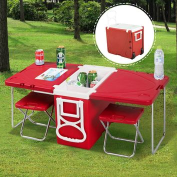 Multi Functional Rolling Picnic Cooler w/ Table & 2 Chairs This cooler is perfect for a trip to the beach, a trip to the park, or a backyard party. You can keep your lunches and drinks cool in ice in the insulated main large compartment.