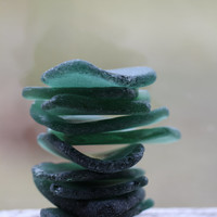 Large Sea Glass Emerald - Forest Green Beach Glass Pieces