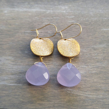 Chalcedony stone earrings, Lavender dangle earrings, Gold coin drop earrings, Lavender gemstone earrings, Light purple stone, Lilac, gift