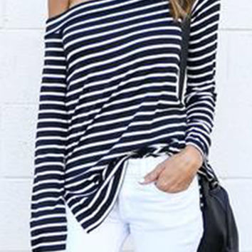 Cupshe Have One Day Off The Shoulder Stripe Top