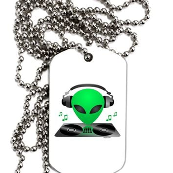 Alien DJ Adult Dog Tag Chain Necklace