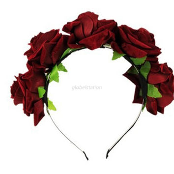 New Rose Flower Garland Hair Head Band Crown For Bride Flower Girl 6 Colors NW