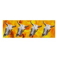 Cow skull and fire poster
