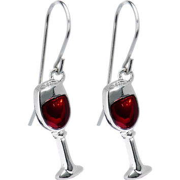 Stainless Steel Red Wine Glass Earrings