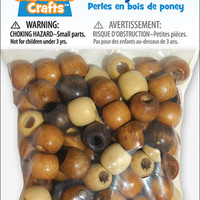 Clubhouse Crafts Wood Pony Beads - 90 Ct