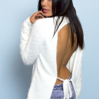 Fuzzy White Knit Open Back Sweater