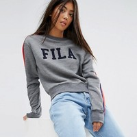 Fila Petite Logo Sweatshirt With Sports Stripe Sleeve at asos.com