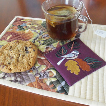 Fall Chickadee Quilted Mug Rug/ Autumn Chickadee Quilted Mug Rug/ Chickadee Mini Place Mat/ Fall Quilted Candle Mat