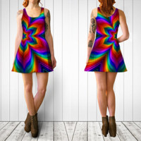 Rainbow Flower Dress by KirstenStar | Flare dress | Shop | Art of Where