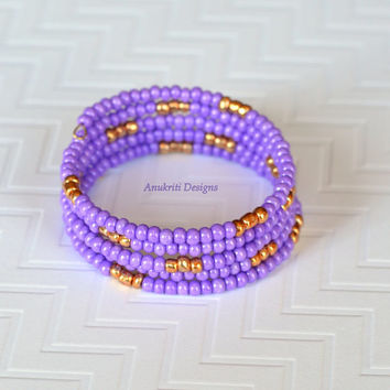 Lavender beaded memory wire wrap bracelet ** Free US shipping ** Five strand bracelet
