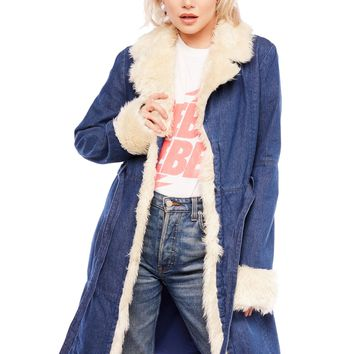 Riders On The Storm Faux Fur Denim Jacket