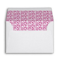 Fuchsia Thank You Script Pattern Lined Envelope