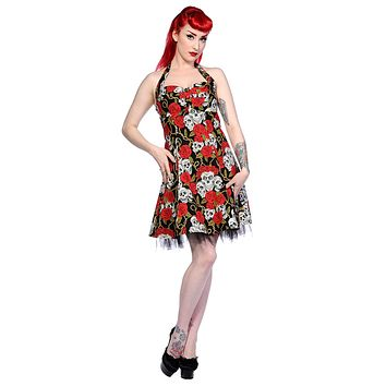 Rockabilly Red Rose & Skulls Party Tulle Mini Dress