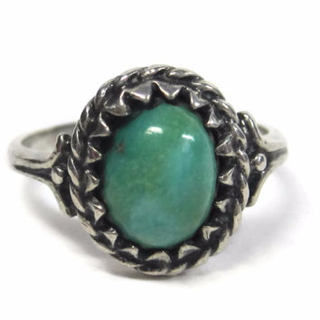 Vintage Navajo Sterling Turquoise Cabochon Ring Size 7.25 Sherry Sandoval