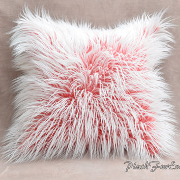 "Faux Fur Home Decor Pillows 18"" x 18"" (Inserts Included) Red White Mongolian Frost Fur Sofa Bed Couch Luxury Fur Decor"