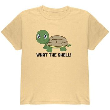 DCCKJY1 Turtle What The Shell Funny Pun Cute Youth T Shirt