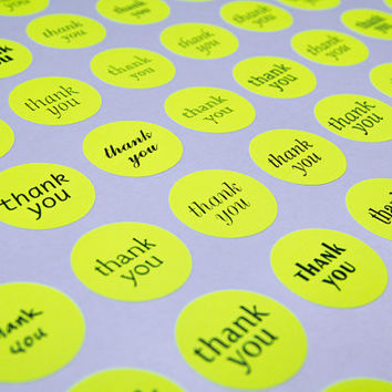 70 thank you sticker, neon sticker, paper circle sticker, round dot label, wedding envelope seal, self adhesive bag gift packaging 1 inch