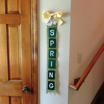 Handmade Burlap Spring Sign, Wall Spring sign, Wall art home decor