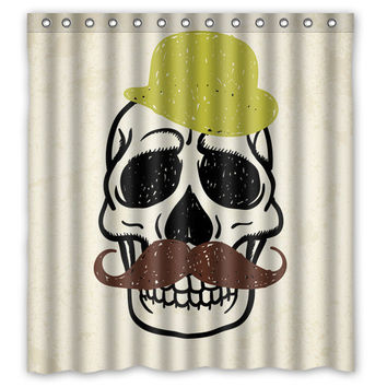 Vogue Fabric Bathroom Curtain Custom Decorative Skull with Funny Hat and Mustache Shower Curtain 66 * 72 (13 holes)