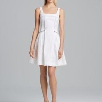 Nanette Lepore Spring Party white 6 SMALL pleated pipe fit flare dress #65 NEW
