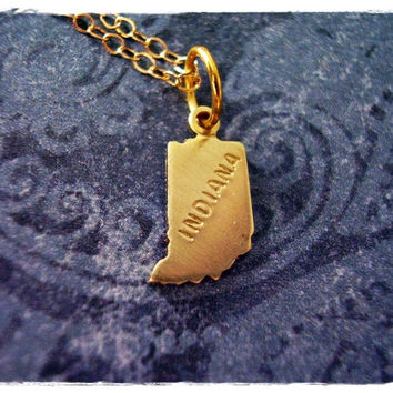 Tiny Gold Indiana State Necklace - Raw Brass Indiana Charm on a Delicate 18 Inch 14KT Gold Filled Cable Chain