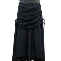Black Gathered Steampunk Skirt with Leather Belt